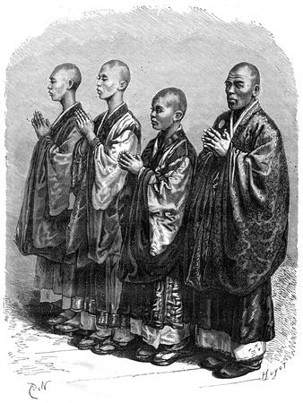 Buddhists in Prayer, Japan, 19th Century