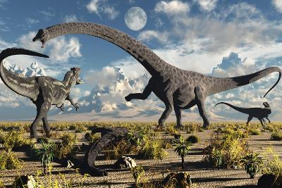 A Deadly Confrontation Between a Diplodocus and a Pair of Allosaurus--Art Print