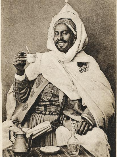 A Decorated Moroccan Tribal Chief Enjoying a Cup of Coffee--Photographic Print