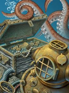 A Deep Sea Diving Suit, Treasure Chest, Compass and Octopus at the Bottom of the Ocean