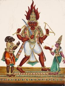 A Depiction of King Ravana with a Rakshasa or Demon to His Left and Sita to His Right, from…