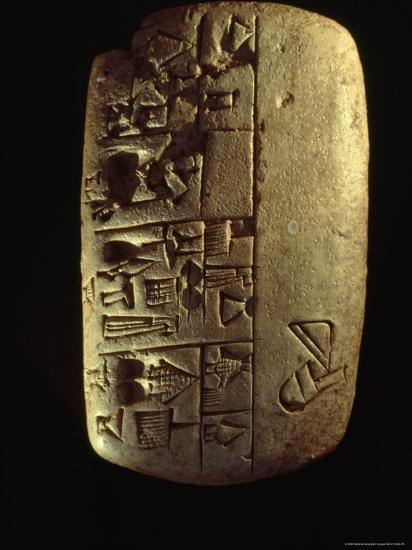 A Description of Commodities Written in Cuneiform on a Mesopotamian Clay Tablet-Lynn Abercrombie-Photographic Print