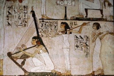 A Detail of a Wall Painting in the Tomb of Rekhmire Showing Women Playing the Harp, Lute and…--Giclee Print