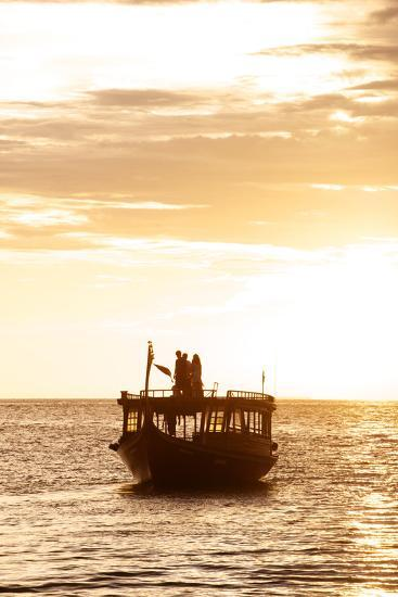 A Dhon, a Traditional Boat, on a Sunset Cruise in the Maldives-Jad Davenport-Photographic Print