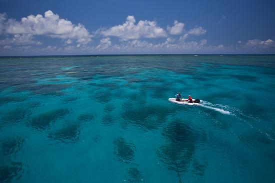 A Dinghy at the Great Barrier Reef-Michael Melford-Photographic Print