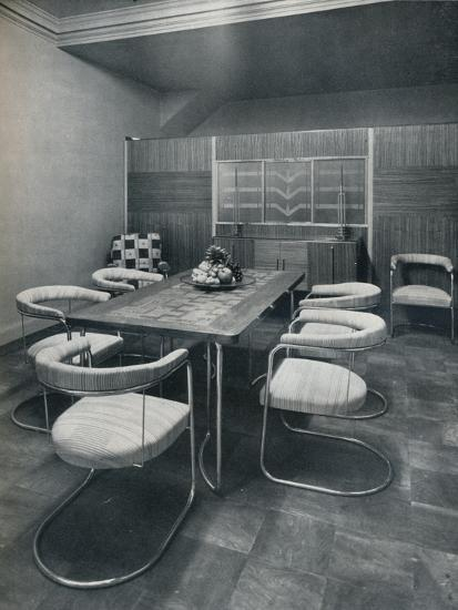'A dining-room suite, with table and chairs of steel tube. By Practical Equipment Ltd., of London'-Unknown-Photographic Print