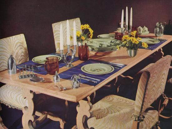A dining table, c1939-Unknown-Photographic Print