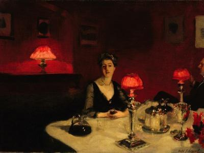 John Singer Sargent  A Dinner Table at Night Giclee Canvas Print