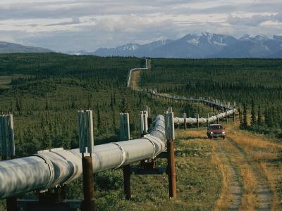 A Dirt Road Winds Beside the Alaskan Pipeline-Karen Kasmauski-Photographic Print