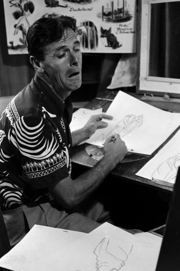 "A Disney Artist-Animator Works on a Drawing from ""Lady and the Tramp,"" Burbank, CA, 1953-Alfred Eisenstaedt-Photographic Print"