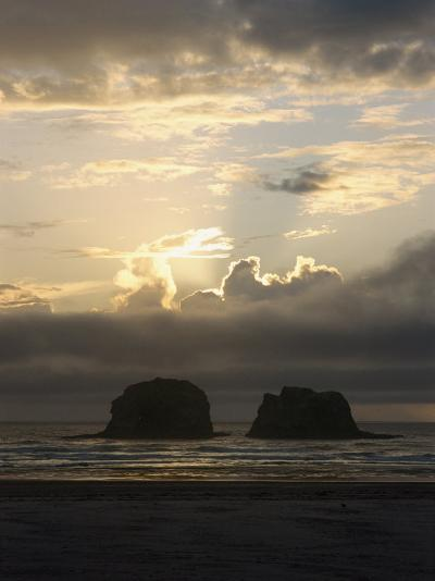 A Distant View of Twin Rocks at Twilight-Phil Schermeister-Photographic Print