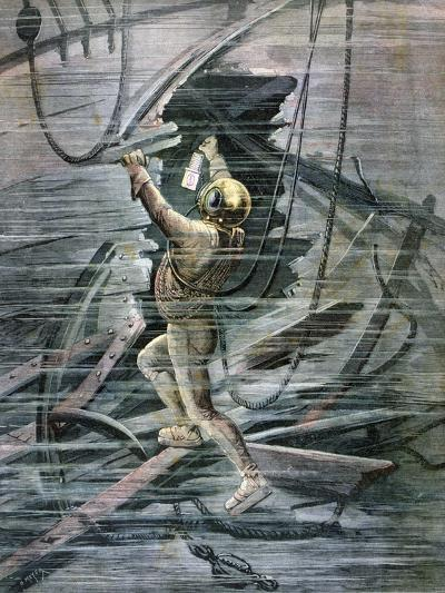 A Diver Searching a Wreck in La Havre Harbour, France, 1892-Henri Meyer-Giclee Print