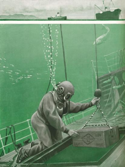 'A Diver Working Under Enormous Pressure', 1935-Unknown-Giclee Print