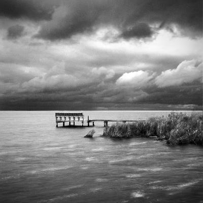 A Dock on the Bay with a Storm Approaching in the Outer Banks-Keith Barraclough-Photographic Print
