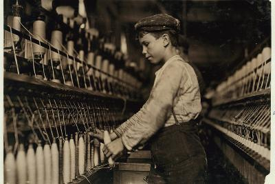 A Doffer Replaces Full Bobbins at Globe Cotton Mill, Augusta, Georgia, 1909-Lewis Wickes Hine-Photographic Print