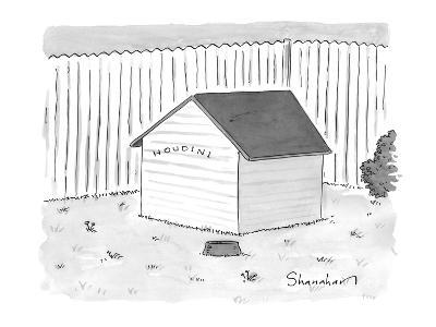 """A dog house with no doors is seen with the sign """"Houdini."""" - New Yorker Cartoon-Danny Shanahan-Premium Giclee Print"""
