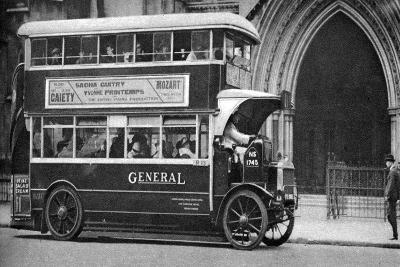 A Double-Decker Bus Standing Outside the Law Courts, London, 1926-1927--Giclee Print