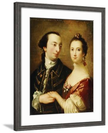 A Double Portrait of a Lady and a Gentleman, English School, 18th Century--Framed Giclee Print