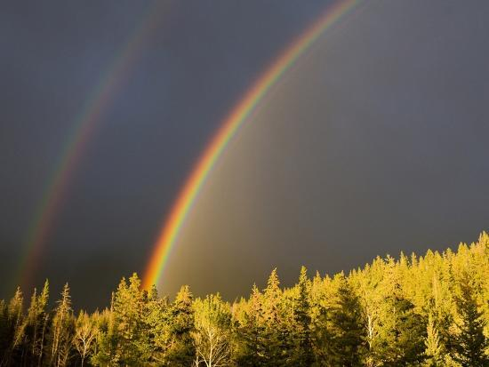 A Double Rainbow During a Storm in Banff National Parknear Banff Alberta, Canada.-Josh McCulloch-Photographic Print