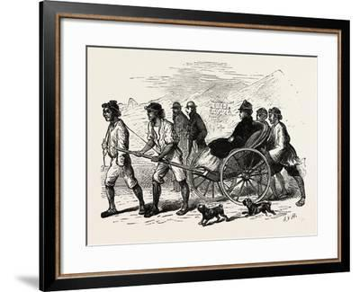 A Drag across the Sand in a Jinrikisha--Framed Giclee Print