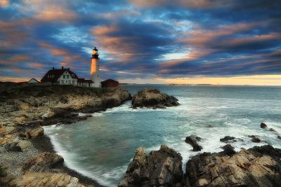 A Dramatic Sky at Sunset over the Portland Head Light-Robbie George-Photographic Print