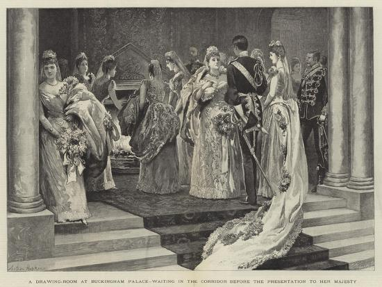 A Drawing-Room at Buckingham Palace, Waiting in the Corridor before the Presentation to Her Majesty-Arthur Hopkins-Giclee Print