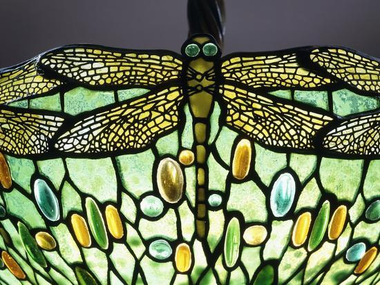 A 'Drophead Dragonfly' Leaded Glass and Bronze Table Lamp--Giclee Print