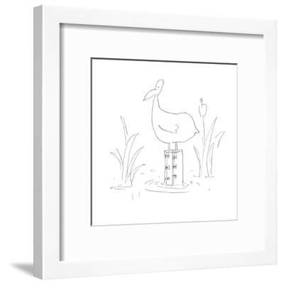 A duck stands in a pond wearing knee-high rain boots. - Cartoon-Arnie Levin-Framed Premium Giclee Print