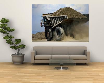 A Dump Truck Carrying Gravel Kicks up a Cloud of Dust-Raymond Gehman-Wall Mural