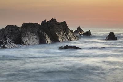 A Dusk View of Atlantic Coast Rocks, at Hartland Quay, Devon, England-Nigel Hicks-Photographic Print