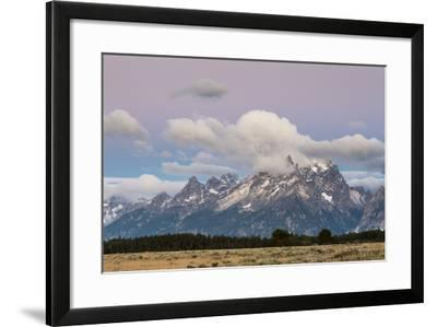 A Dusting Of Snow Coating The Peaks Of The Teton Mts In Late July, Grand Teton NP, Wyoming-Mike Cavaroc-Framed Photographic Print