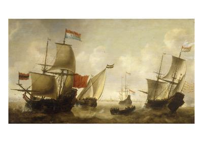 A Dutch Merchantman with a Wijdschip and other Shipping off Amsterdam-Jacob Adriansz Bellevois-Giclee Print