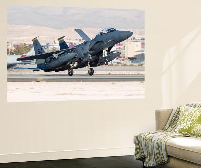 A F-15E Strike Eagle of the U.S. Air Force Uses Aero Braking after Landing-Stocktrek Images-Wall Mural