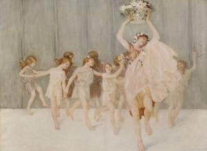 Isadora Duncan American Dancer Seen Here with Some of Her Pupils by A.f. Gorguet