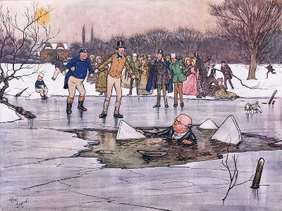 A Face, Head and Shoulders, Emerged from Beneath the Water-Cecil Aldin-Giclee Print