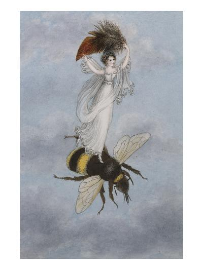 A Fairy Carrying a Feather Standing on a Bee-Amelia Jane Murray-Giclee Print
