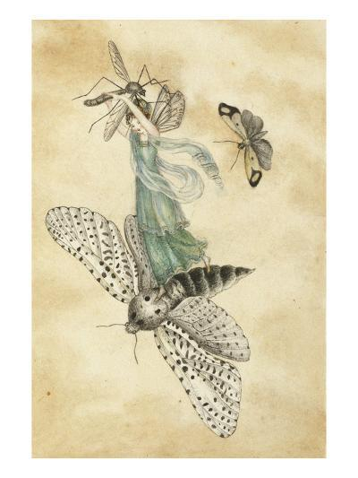 A Fairy Standing on a Moth While Being Chased by a Butterfly-Amelia Jane Murray-Giclee Print
