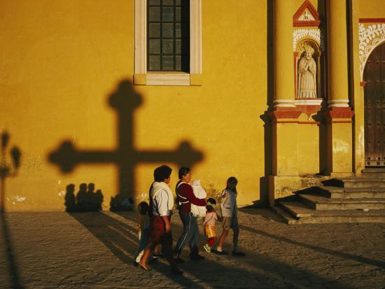 A Family Comes to Worship at the San Cristobal Church-Tomasz Tomaszewski-Photographic Print