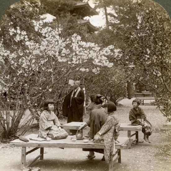 A Family Enjoying a Picnic under the Cherry Blossoms, Omuro Gosho, Kyoto, Japan, 1904-Underwood & Underwood-Photographic Print