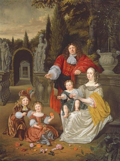A Family Group on a Terrace, 1670-Michiel Van Musscher-Giclee Print