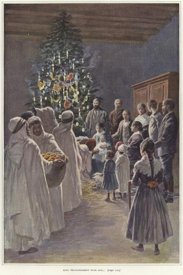 A Family Group Watching a Nativity Scene by a Christmas Tree--Giclee Print
