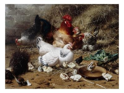 A Family of Chickens-Eugene Remy Maes-Giclee Print