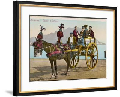 A Family Party in their Carriage at Palermo, Sicily--Framed Photographic Print