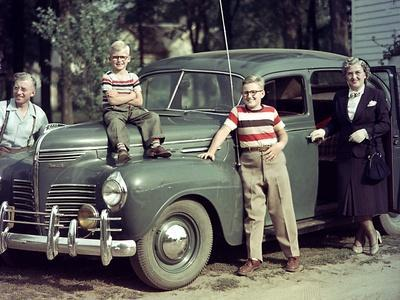 A Family Poses on and around their Plymouth Automobile, Ca. 1953--Photographic Print