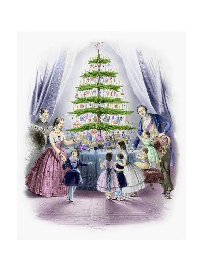 A Family Standing around a Christmas Tree--Giclee Print