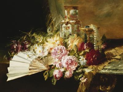 A Fan with Roses, Daisies and a Famille Rose Vase on a Draped Table-Pierre		 Garnier-Giclee Print