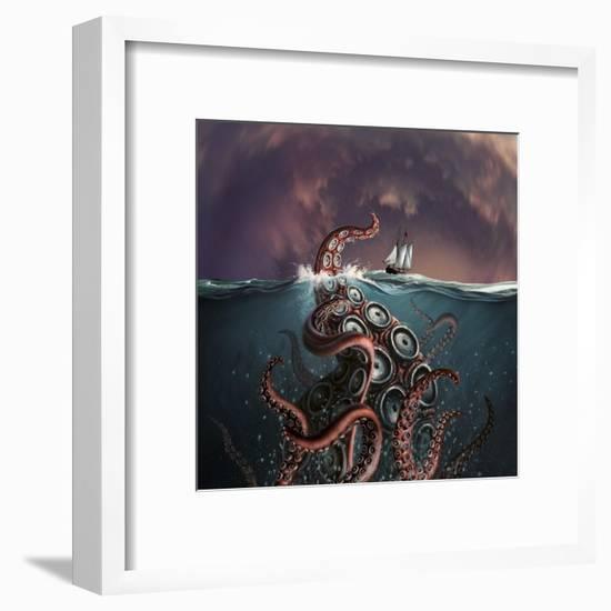 A Fantastical Depiction of the Legendary Kraken--Framed Art Print