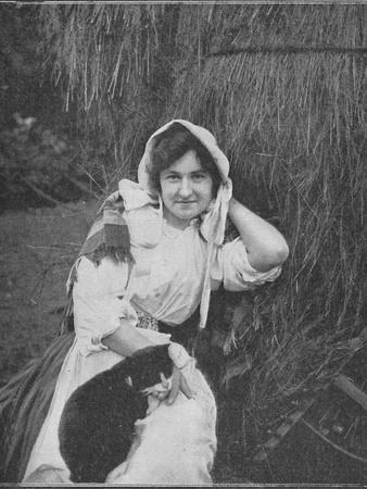 'A Farm Lassie of Manxland', 1900-Unknown-Framed Photographic Print