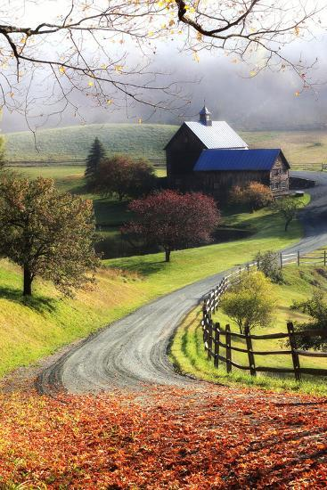 A Farm on a Winding Rural Road on a Foggy Autumn Morning-Robbie George-Photographic Print
