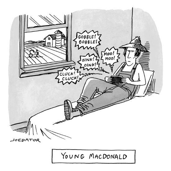 A farmer sits on his bed and holds a phone or handheld gaming device emitt? - New Yorker Cartoon-Joe Dator-Premium Giclee Print